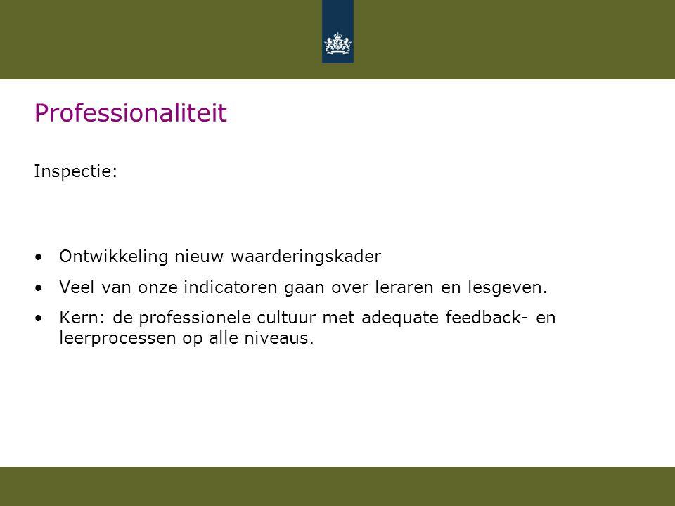 Professionaliteit Inspectie: Ontwikkeling nieuw waarderingskader Veel van onze indicatoren gaan over leraren en lesgeven. Kern: de professionele cultu