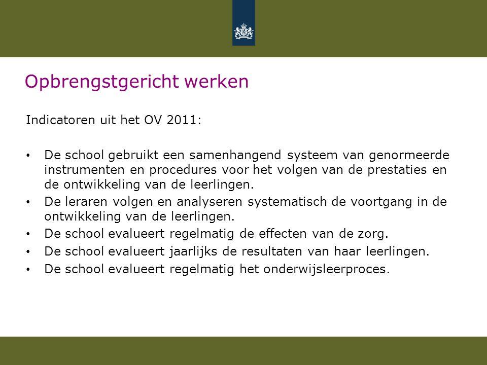Opbrengstgericht werken Indicatoren uit het OV 2011: De school gebruikt een samenhangend systeem van genormeerde instrumenten en procedures voor het volgen van de prestaties en de ontwikkeling van de leerlingen.