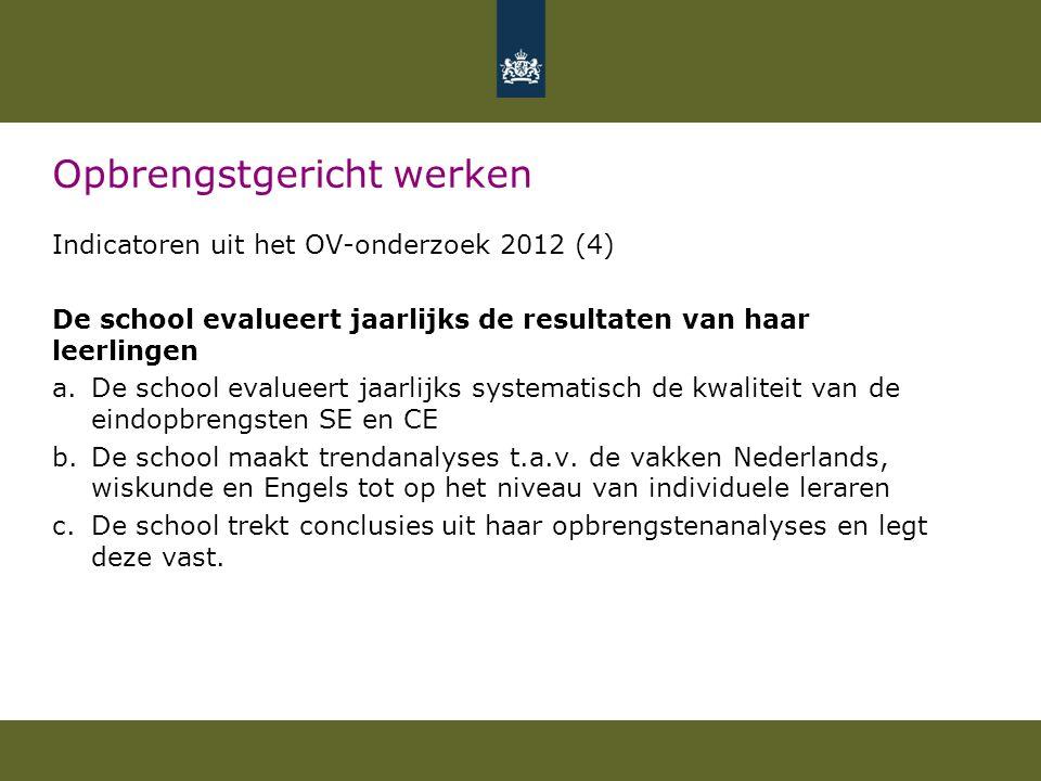 Opbrengstgericht werken Indicatoren uit het OV-onderzoek 2012 (4) De school evalueert jaarlijks de resultaten van haar leerlingen a.De school evalueer