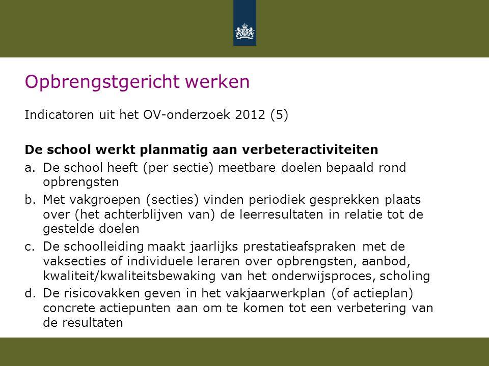 Opbrengstgericht werken Indicatoren uit het OV-onderzoek 2012 (5) De school werkt planmatig aan verbeteractiviteiten a.De school heeft (per sectie) me