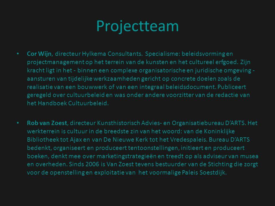 Projectteam Cor Wijn, directeur Hylkema Consultants. Specialisme: beleidsvorming en projectmanagement op het terrein van de kunsten en het cultureel e