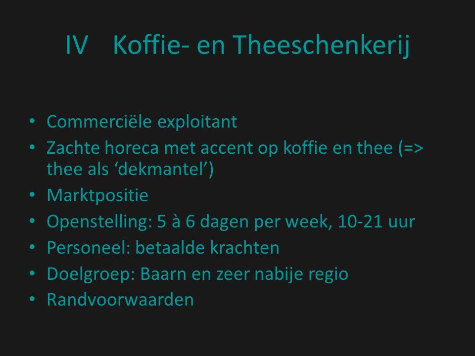 IVKoffie- en Theeschenkerij Commerciële exploitant Zachte horeca met accent op koffie en thee (=> thee als 'dekmantel') Marktpositie Openstelling: 5 à 6 dagen per week, 10-21 uur Personeel: betaalde krachten Doelgroep: Baarn en zeer nabije regio Randvoorwaarden