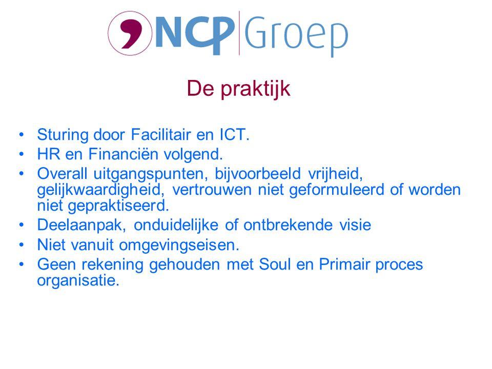 Sturing door Facilitair en ICT. HR en Financiën volgend.
