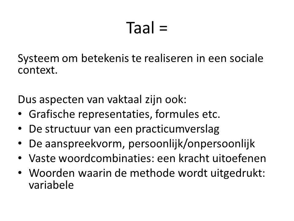 Taal = Systeem om betekenis te realiseren in een sociale context.