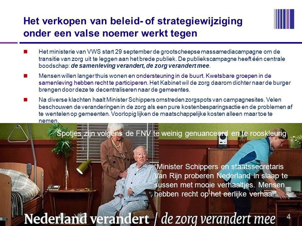 Het verkopen van beleid- of strategiewijziging onder een valse noemer werkt tegen Het ministerie van VWS start 29 september de grootscheepse massamediacampagne om de transitie van zorg uit te leggen aan het brede publiek.