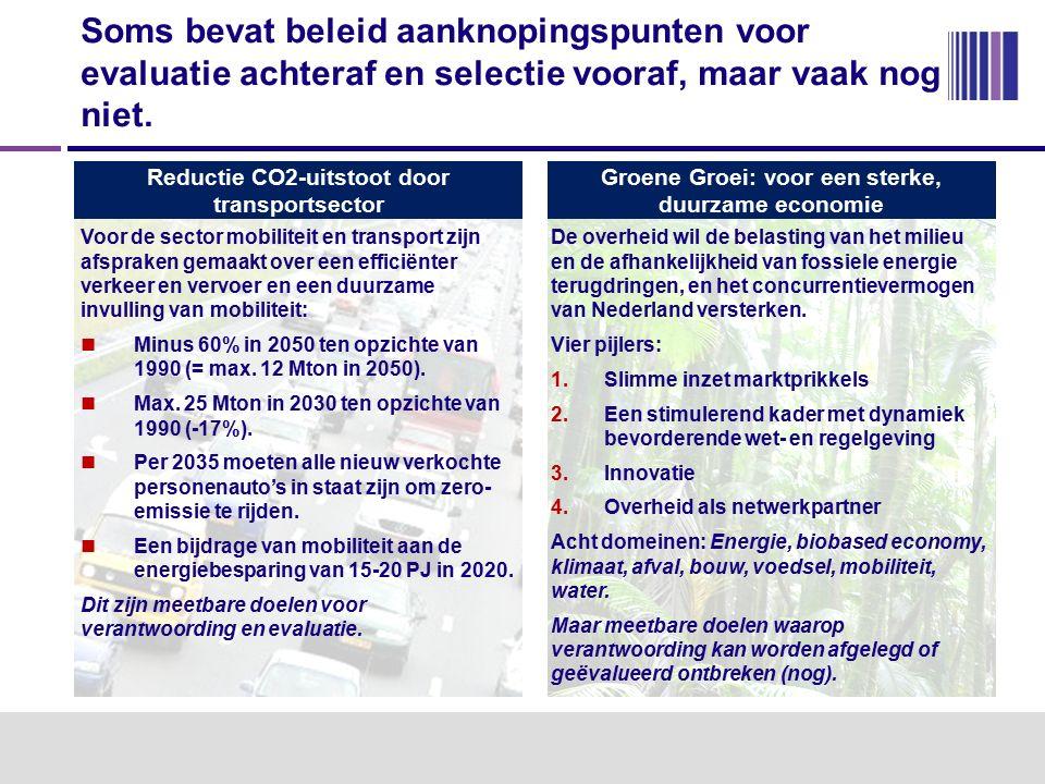 Reductie CO2-uitstoot door transportsector Voor de sector mobiliteit en transport zijn afspraken gemaakt over een efficiënter verkeer en vervoer en een duurzame invulling van mobiliteit: Minus 60% in 2050 ten opzichte van 1990 (= max.