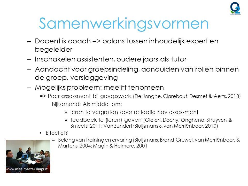 Samenwerkingsvormen – Docent is coach => balans tussen inhoudelijk expert en begeleider – Inschakelen assistenten, oudere jaars als tutor – Aandacht v