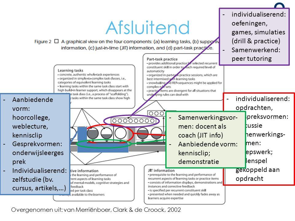 Afsluitend Overgenomen uit: van Merriënboer, Clark & de Croock, 2002 -individualiserend: opdrachten, -Gespreksvormen: discussie -Samenwerkings- vormen: groepswerk; Rollenspel gekoppeld aan opdracht -Aanbiedende vorm: hoorcollege, weblecture, kennisclip -Gesprekvormen: onderwijsleerges prek -Individualiserend: zelfstudie (bv.