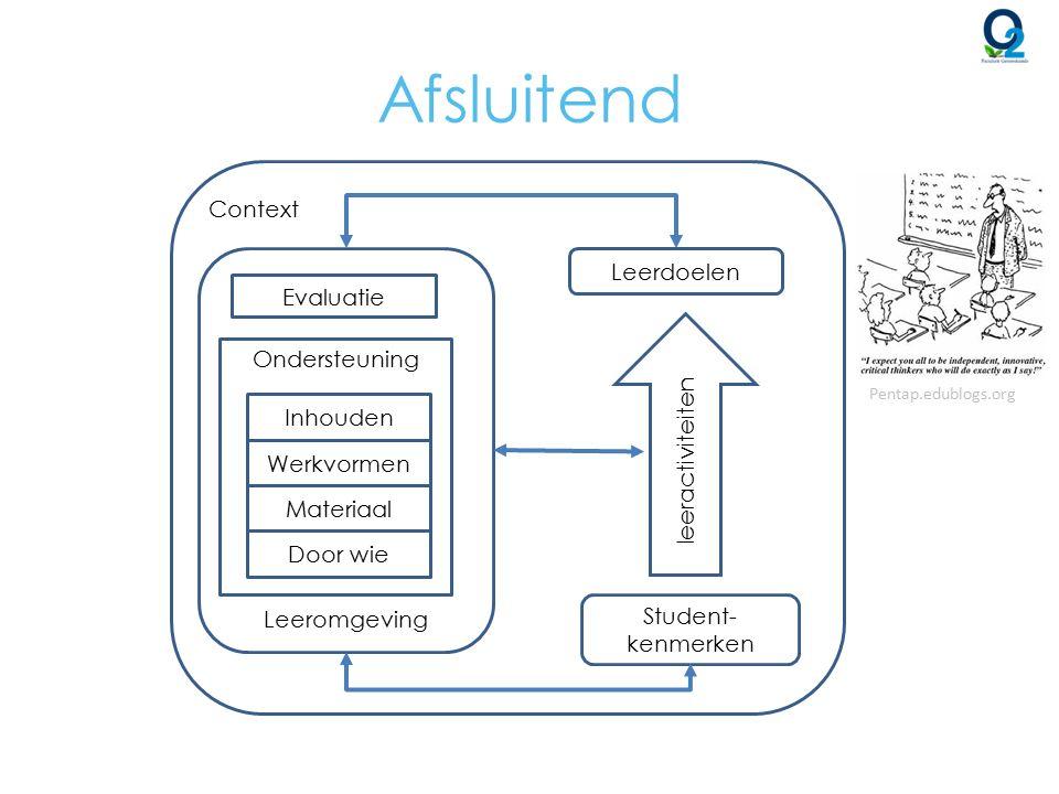 Afsluitend Leerdoelen Student- kenmerken leeractiviteiten Evaluatie Ondersteuning Inhouden Werkvormen Materiaal Door wie Leeromgeving Context Pentap.e