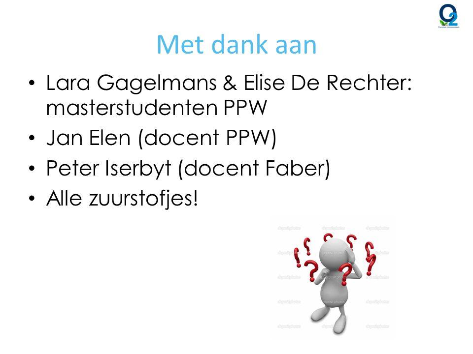 Met dank aan Lara Gagelmans & Elise De Rechter: masterstudenten PPW Jan Elen (docent PPW) Peter Iserbyt (docent Faber) Alle zuurstofjes!