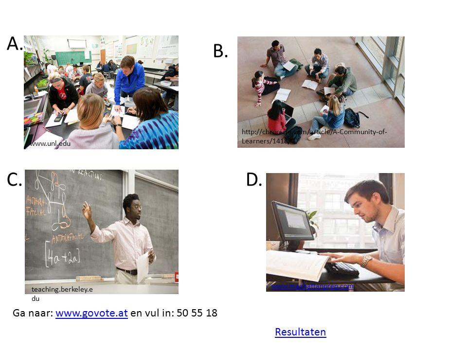 Samenwerkingsvormen Groepswerk – Stimuleren van sociale ontwikkeling (doel op zich) of bereiken van cognitieve doelen (middel) Parallel groepswerk: alle groepen werken aan zelfde taak Complementair groepswerk: elke groep andere aspect – ~vervolgens mogelijkheid tot jigsaw methode – Meer dan studenten samenzetten (Johnson & Johnson, 1999; Slavin, 1995) : Positieve afhankelijkheid Individuele verantwoordelijkheid Directe interactie Samenwerkingsvaardigheden Evaluatie van het groepsproces => Betere leerprestaties, samenwerkingsvaardigheden (Johnson, Johnson & Smith, 2007, ;Slavin, 1996; Cohen 1994; Costa, Van Rensburg, & Rushton; 2007; Fisher, Jacobs & Herbert, 2004; Laal & Ghodsi, 2011) Infed.org