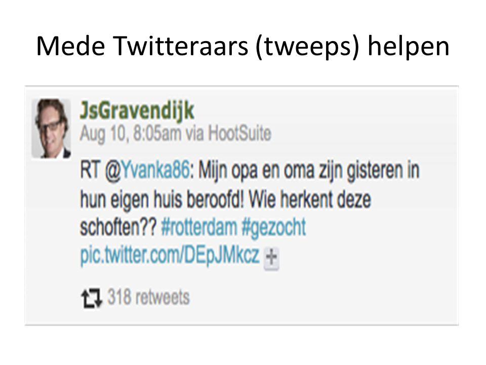Mede Twitteraars (tweeps) helpen