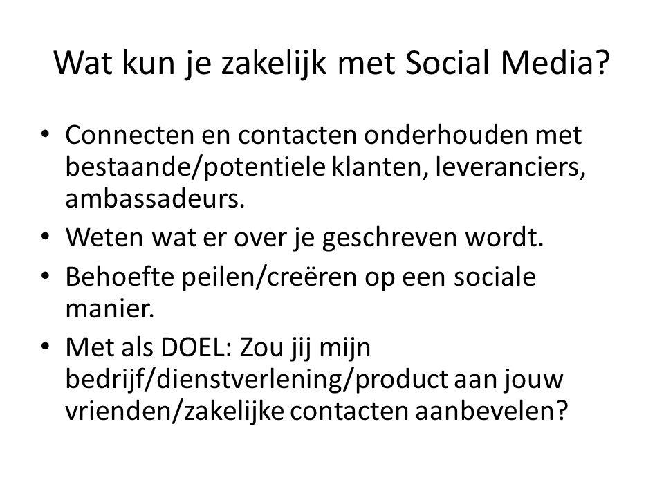 Wat kun je zakelijk met Social Media.