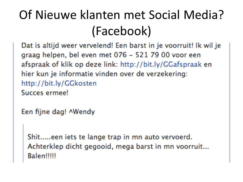 Of Nieuwe klanten met Social Media? (Facebook)