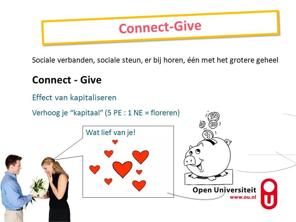Sociale verbanden, sociale steun, er bij horen, één met het grotere geheel Connect - Give Effect van kapitaliseren Verhoog je kapitaal (5 PE : 1 NE = floreren) Connect-Give Wat lief van je!