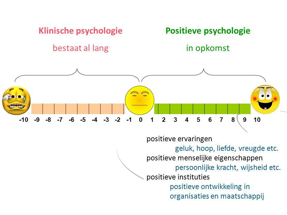 Positieve psychologie in opkomst Klinische psychologie bestaat al lang positieve ervaringen geluk, hoop, liefde, vreugde etc.