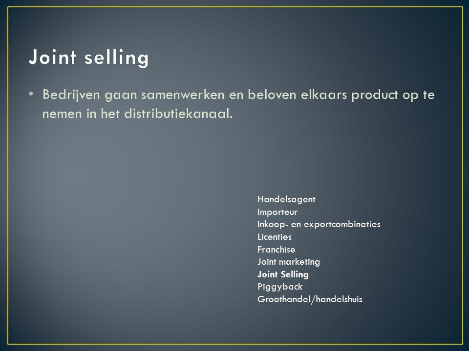 Bedrijven gaan samenwerken en beloven elkaars product op te nemen in het distributiekanaal.