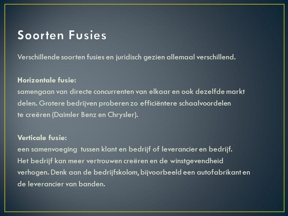 Verschillende soorten fusies en juridisch gezien allemaal verschillend.