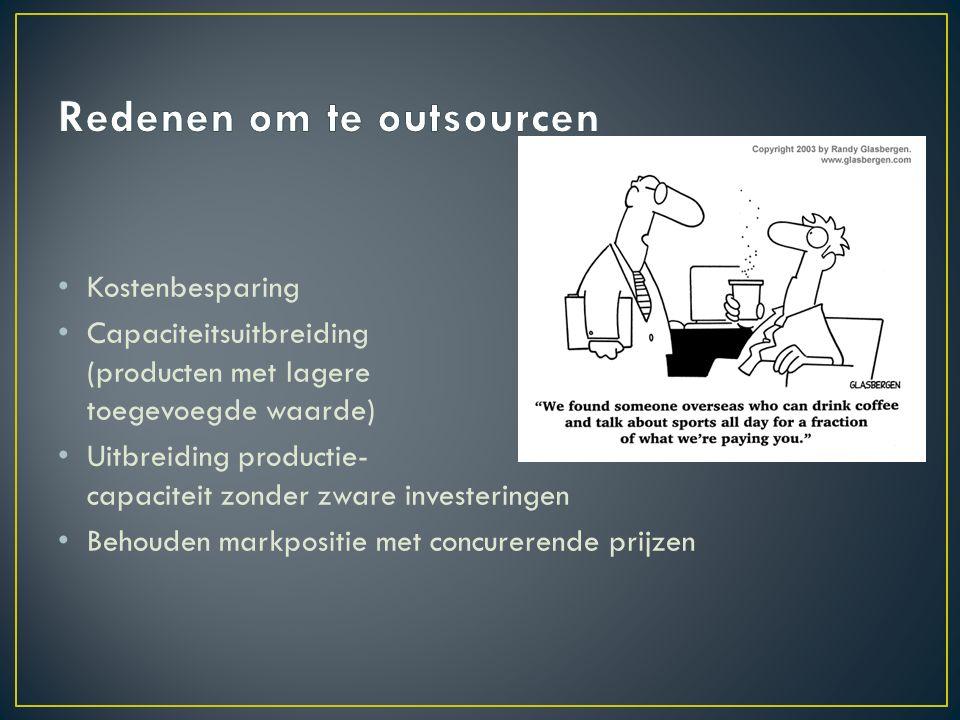 Kostenbesparing Capaciteitsuitbreiding (producten met lagere toegevoegde waarde) Uitbreiding productie- capaciteit zonder zware investeringen Behouden markpositie met concurerende prijzen