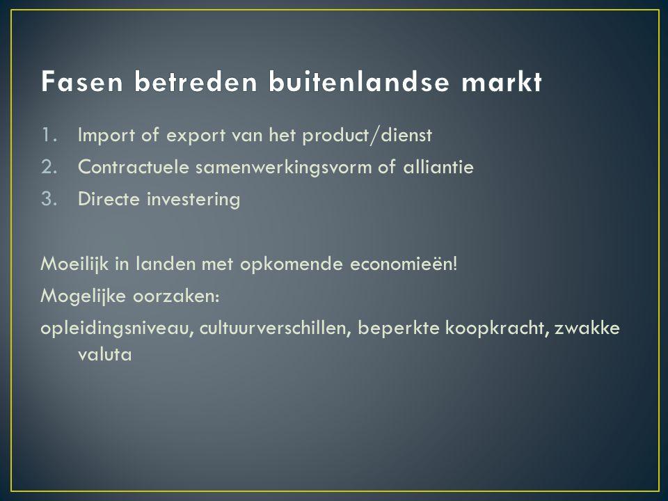 1.Import of export van het product/dienst 2.Contractuele samenwerkingsvorm of alliantie 3.Directe investering Moeilijk in landen met opkomende economieën.