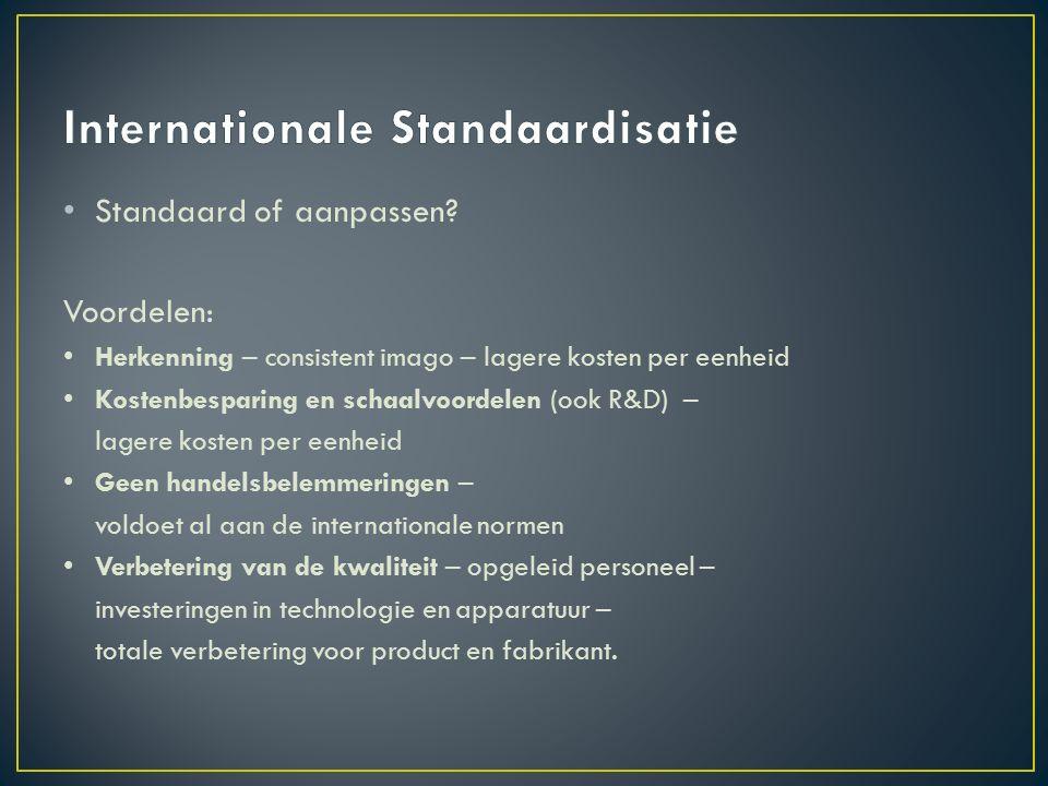 Standaard of aanpassen.