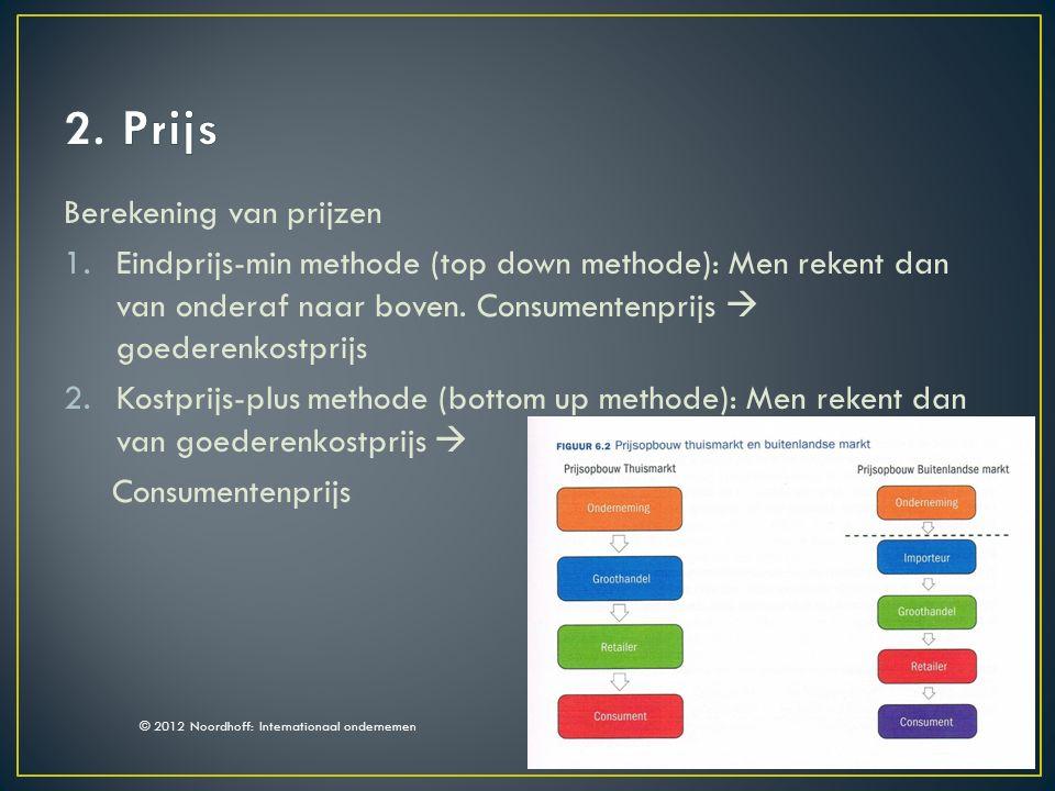 Berekening van prijzen 1.Eindprijs-min methode (top down methode): Men rekent dan van onderaf naar boven.
