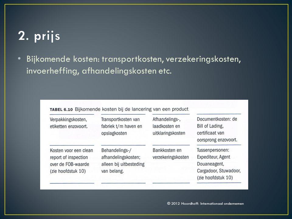 Bijkomende kosten: transportkosten, verzekeringskosten, invoerheffing, afhandelingskosten etc.