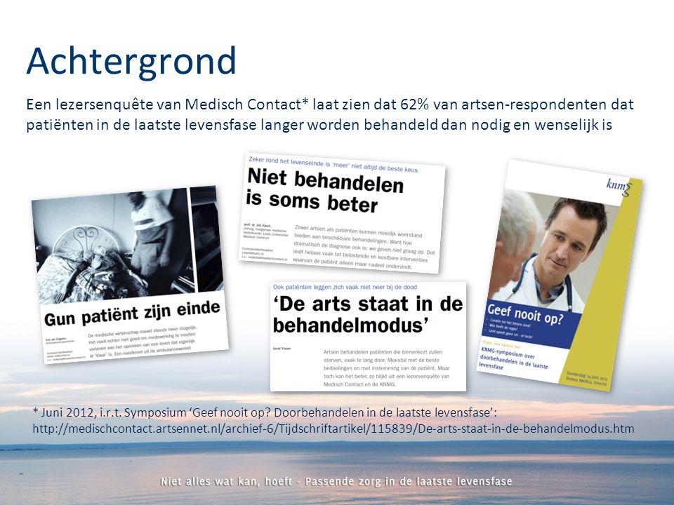 Een lezersenquête van Medisch Contact* laat zien dat 62% van artsen-respondenten dat patiënten in de laatste levensfase langer worden behandeld dan nodig en wenselijk is Achtergrond * Juni 2012, i.r.t.