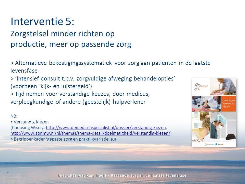 > Alternatieve bekostigingssystematiek voor zorg aan patiënten in de laatste levensfase > 'Intensief consult t.b.v.