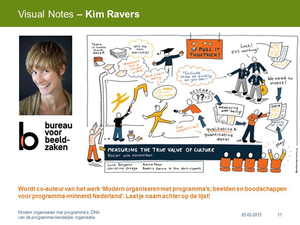Visual Notes – Kim Ravers 05-02-2015 Modern organiseren met programma's; DNA van de programmavriendelijke organisatie 11 Wordt co-auteur van het werk 'Modern organiseren met programma's; beelden en boodschappen voor programma-minnend Nederland'.