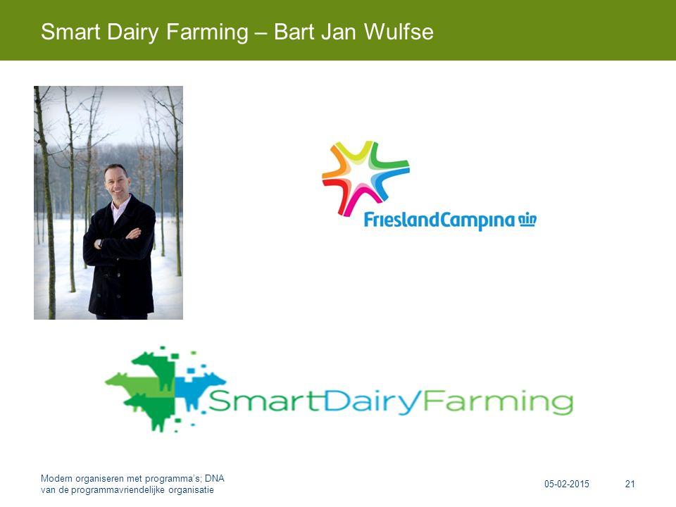 Smart Dairy Farming – Bart Jan Wulfse 05-02-2015 Modern organiseren met programma's; DNA van de programmavriendelijke organisatie 21