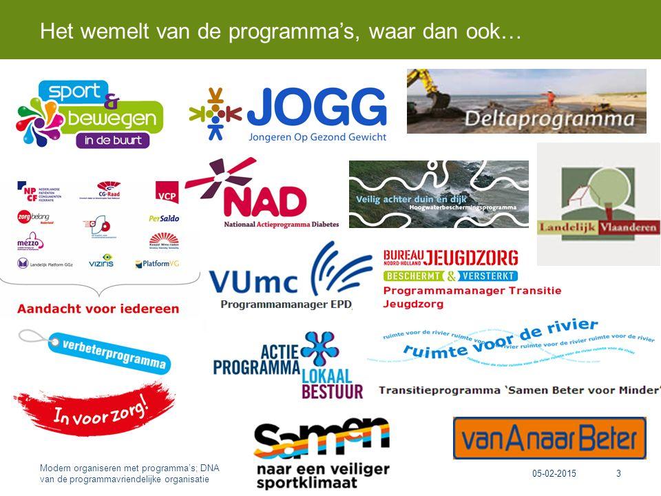 Het wemelt van de programma's, waar dan ook… 05-02-2015 Modern organiseren met programma's; DNA van de programmavriendelijke organisatie 3