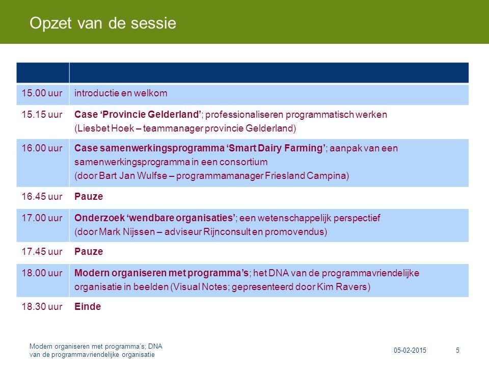 15.00 uurintroductie en welkom 15.15 uur Case 'Provincie Gelderland'; professionaliseren programmatisch werken (Liesbet Hoek – teammanager provincie Gelderland) 16.00 uur Case samenwerkingsprogramma 'Smart Dairy Farming'; aanpak van een samenwerkingsprogramma in een consortium (door Bart Jan Wulfse – programmamanager Friesland Campina) 16.45 uurPauze 17.00 uur Onderzoek 'wendbare organisaties'; een wetenschappelijk perspectief (door Mark Nijssen – adviseur Rijnconsult en promovendus) 17.45 uurPauze 18.00 uur Modern organiseren met programma's; het DNA van de programmavriendelijke organisatie in beelden (Visual Notes; gepresenteerd door Kim Ravers) 18.30 uurEinde Opzet van de sessie 05-02-2015 Modern organiseren met programma's; DNA van de programmavriendelijke organisatie 5
