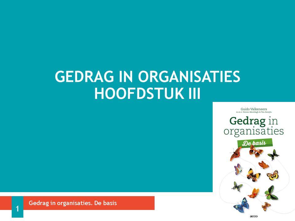GEDRAG IN ORGANISATIES HOOFDSTUK III Gedrag in organisaties. De basis 1