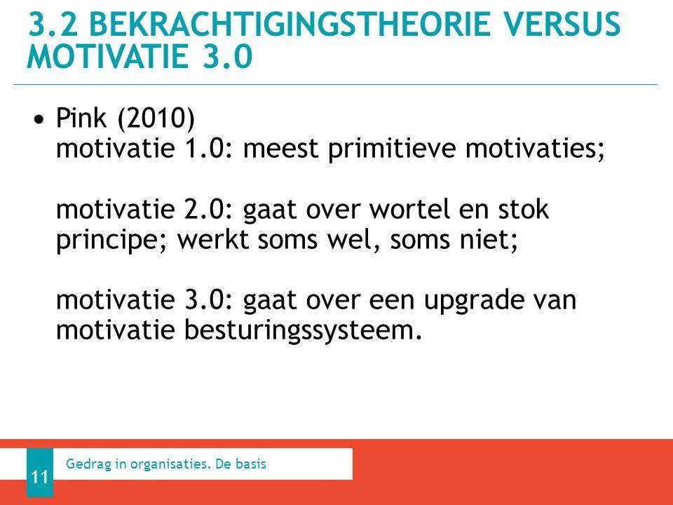 Pink (2010) motivatie 1.0: meest primitieve motivaties; motivatie 2.0: gaat over wortel en stok principe; werkt soms wel, soms niet; motivatie 3.0: gaat over een upgrade van motivatie besturingssysteem.
