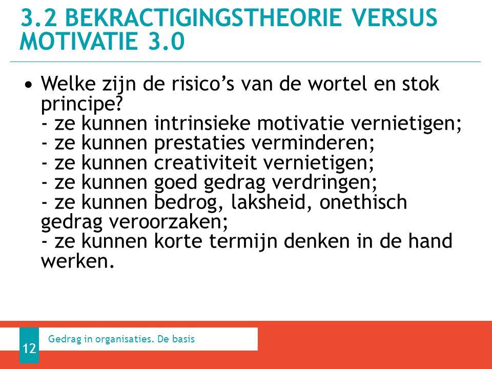 3.2 BEKRACTIGINGSTHEORIE VERSUS MOTIVATIE 3.0 12 Gedrag in organisaties.