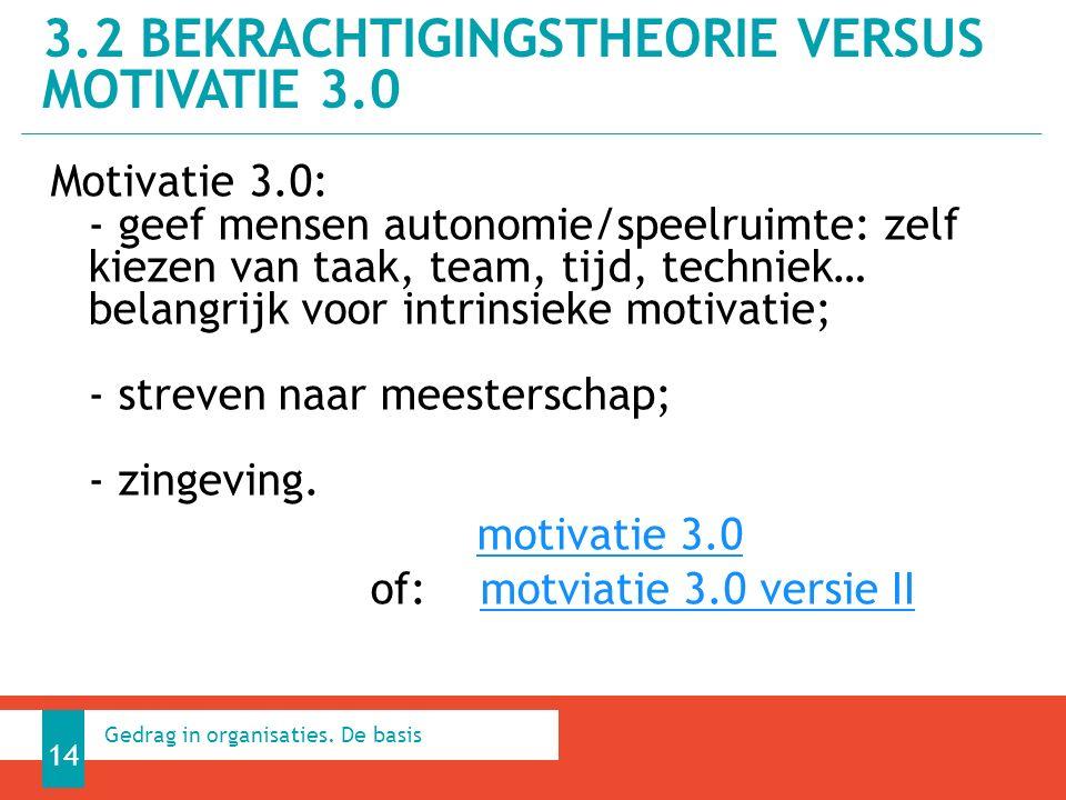 3.2 BEKRACHTIGINGSTHEORIE VERSUS MOTIVATIE 3.0 14 Gedrag in organisaties.
