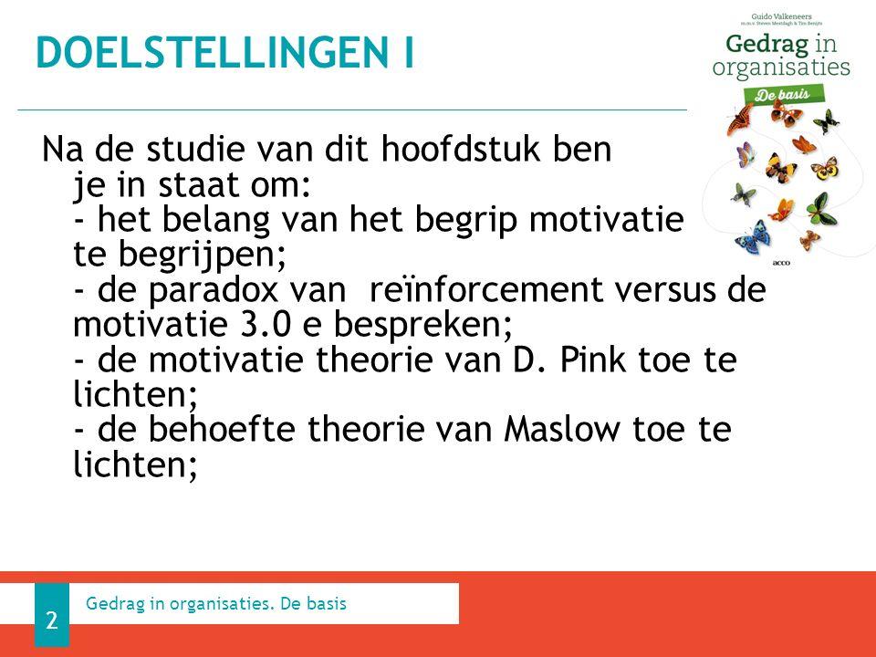 Na de studie van dit hoofdstuk ben je in staat om: - het belang van het begrip motivatie te begrijpen; - de paradox van reïnforcement versus de motivatie 3.0 e bespreken; - de motivatie theorie van D.