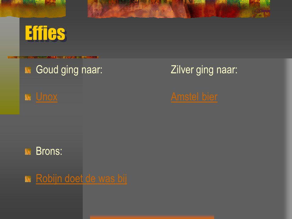 Effies Goud ging naar:Zilver ging naar: UnoxAmstel bier Brons: Robijn doet de was bij