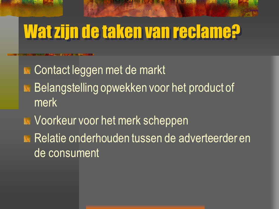 Wat zijn de taken van reclame.