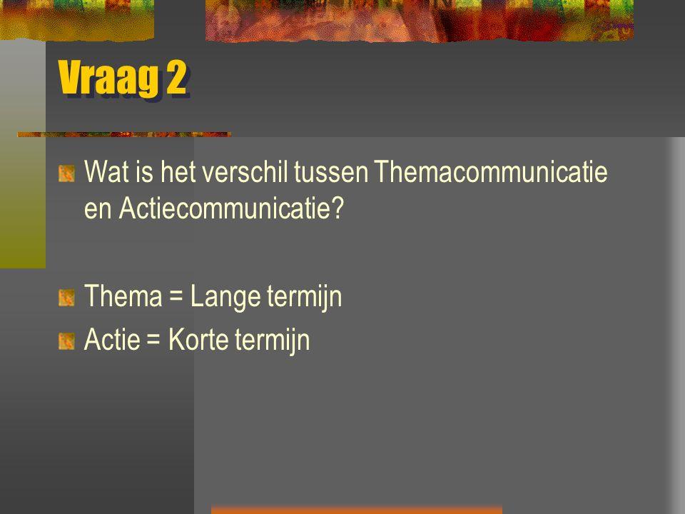 Vraag 2 Wat is het verschil tussen Themacommunicatie en Actiecommunicatie.