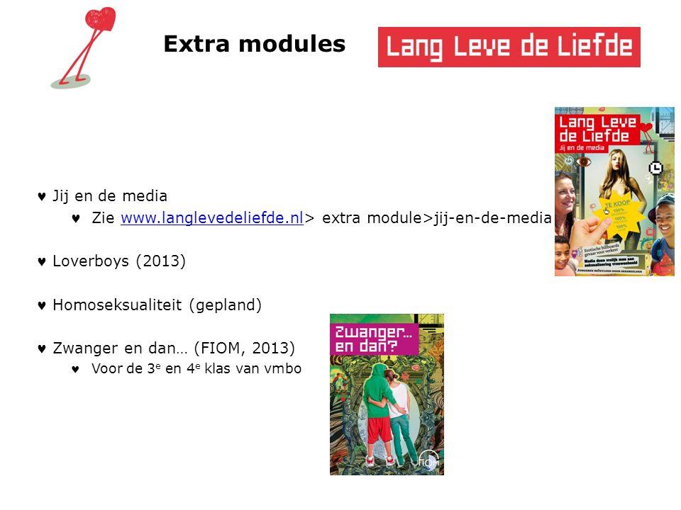 Extra modules Jij en de media Zie www.langlevedeliefde.nl> extra module>jij-en-de-mediawww.langlevedeliefde.nl Loverboys (2013) Homoseksualiteit (gepl