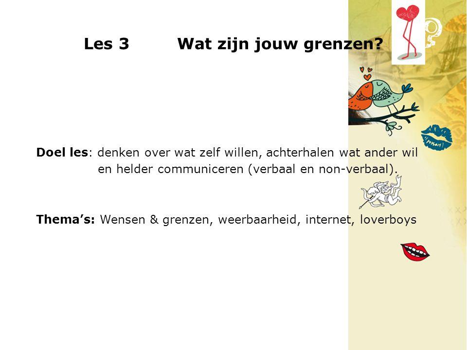 Les 3 Wat zijn jouw grenzen? Doel les: denken over wat zelf willen, achterhalen wat ander wil en helder communiceren (verbaal en non-verbaal). Thema's