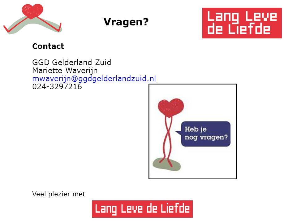 54 Vragen? Contact GGD Gelderland Zuid Mariette Waverijn mwaverijn@ggdgelderlandzuid.nl 024-3297216 Veel plezier met