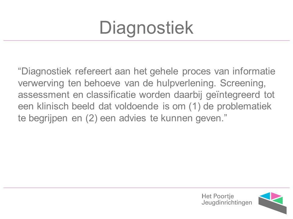 Diagnostiek Diagnostiek refereert aan het gehele proces van informatie verwerving ten behoeve van de hulpverlening.