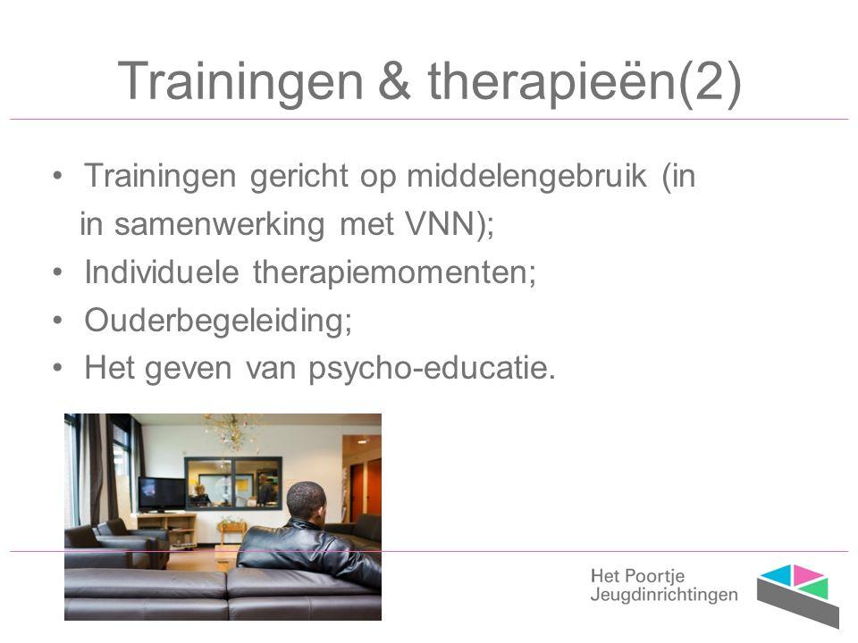 Trainingen gericht op middelengebruik (in in samenwerking met VNN); Individuele therapiemomenten; Ouderbegeleiding; Het geven van psycho-educatie.