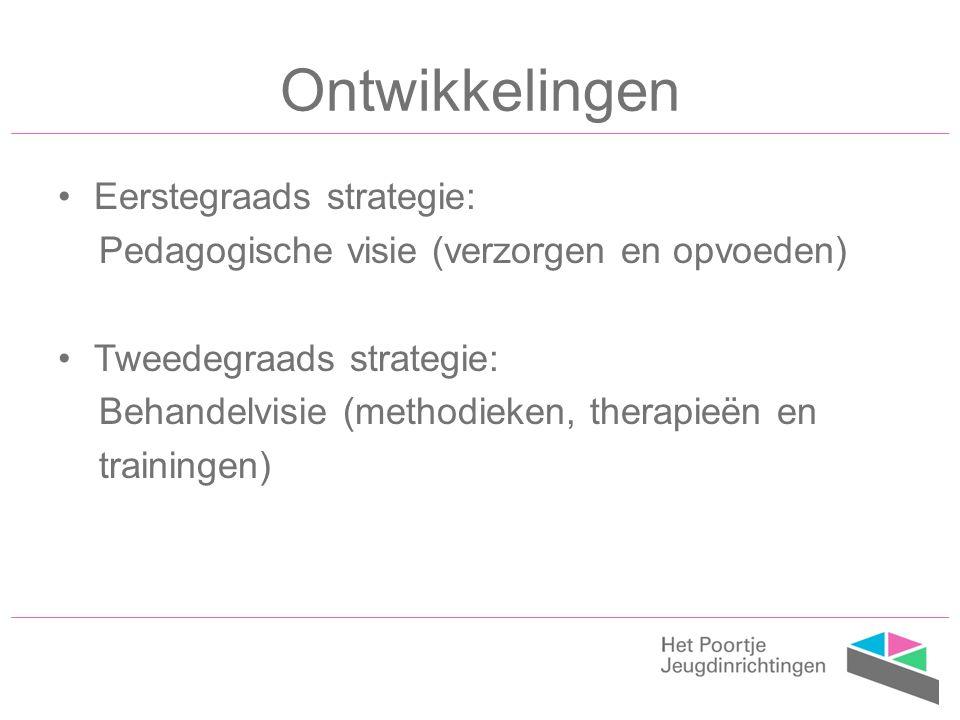 Ontwikkelingen Eerstegraads strategie: Pedagogische visie (verzorgen en opvoeden) Tweedegraads strategie: Behandelvisie (methodieken, therapieën en trainingen)