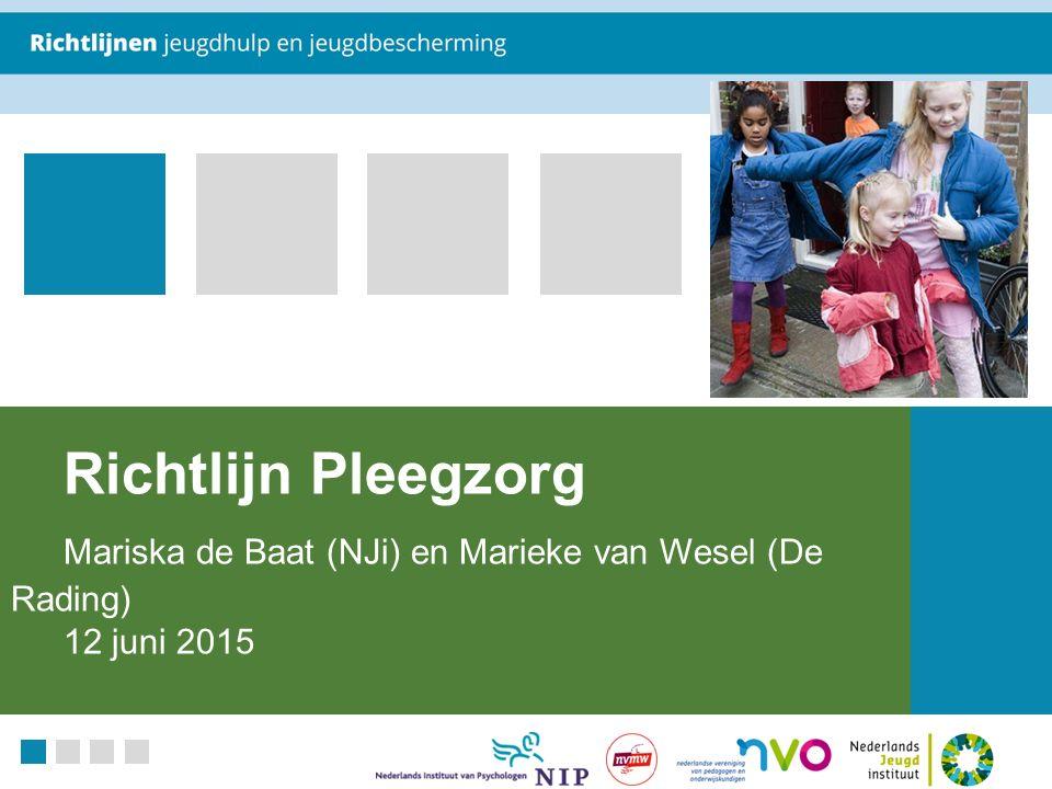 Richtlijn Pleegzorg Mariska de Baat (NJi) en Marieke van Wesel (De Rading) 12 juni 2015