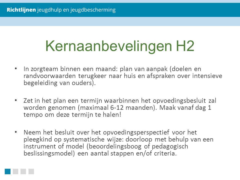 Kernaanbevelingen H2 In zorgteam binnen een maand: plan van aanpak (doelen en randvoorwaarden terugkeer naar huis en afspraken over intensieve begeleiding van ouders).