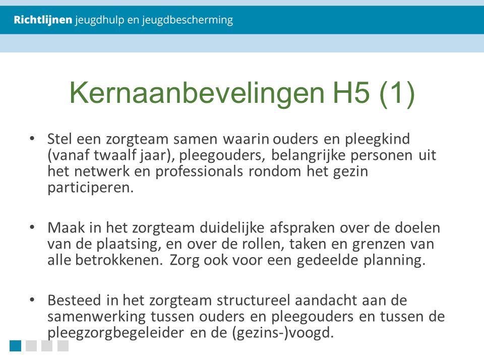 Kernaanbevelingen H5 (1) Stel een zorgteam samen waarin ouders en pleegkind (vanaf twaalf jaar), pleegouders, belangrijke personen uit het netwerk en professionals rondom het gezin participeren.